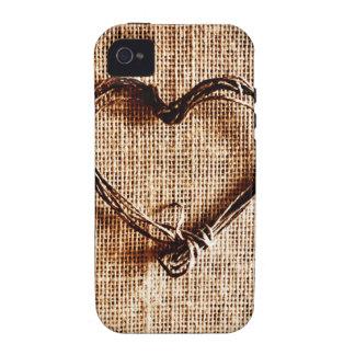 Coeur rustique de ficelle de pays sur la copie de  étui iPhone 4