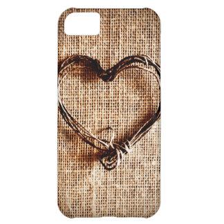 Coeur rustique de ficelle de pays sur la copie de  coque iPhone 5C