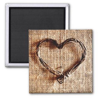Coeur rustique de ficelle de pays sur la copie de  magnets