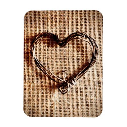 Coeur rustique de ficelle de pays sur la copie de  magnet souple