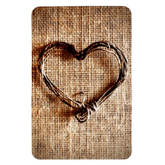 Coeur rustique de ficelle de pays sur la copie de magnet en vinyle