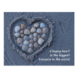 Coeur, sable, coquille - heart, sable, coquille carte postale