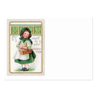 Coeur victorien de panier de fille carte de visite grand format
