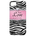 Coeur vivant de rose de zèbre de couverture de coq coques Case-Mate iPhone 5