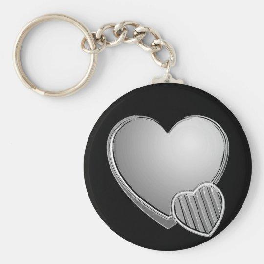 Coeurs de chrome porte-clé rond