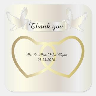 Coeurs de mariage d'or sticker carré