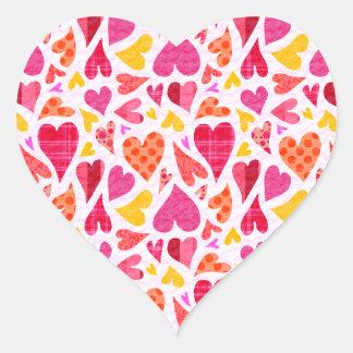 Coeurs lunatiques de griffonnage avec des motifs sticker cœur
