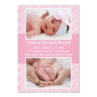 Coeurs roses 2 photos - faire-part de naissance