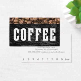 Coffee Bean Top Stripe Letterpress Punchcard Visitenkarte