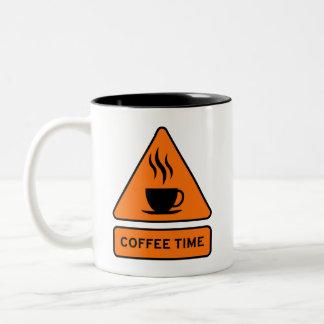 Coffee Time Hazard Sign Zweifarbige Tasse