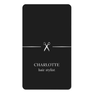 Coiffeur chic élégant moderne de noir d'argent de carte de visite standard
