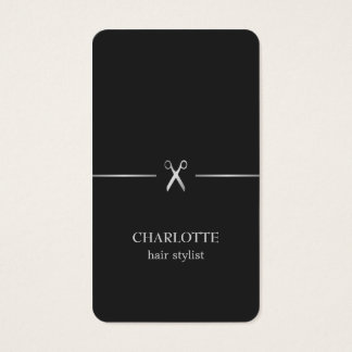 Coiffeur chic élégant moderne de noir d'argent de cartes de visite