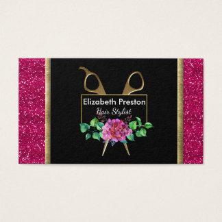 Coiffeur, rendez-vous, scintillement rose floral cartes de visite