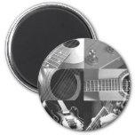 Collage de photographie de guitare - noir et blanc magnets pour réfrigérateur