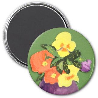 Collage des MischStiefmütterchen-Magneten Runder Magnet 7,6 Cm