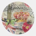 Collage vintage de voyage de Londres Angleterre Autocollant Rond