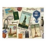collage vintage moderne de voyage cartes postales
