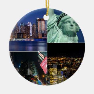 Collagen-Foto Cityscape New York City NYC Rundes Keramik Ornament