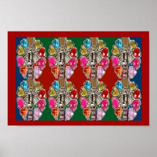 Collection d'ART rouge-rose d'amour d'amusement de Poster