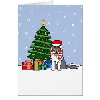 Collie-und Weihnachtsbaum Karte