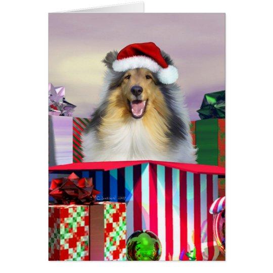 Collie-Weihnachten Surpise Grußkarte
