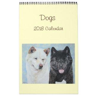 Colliehundeporträtkunst 2018 Akitas Labrador Abreißkalender