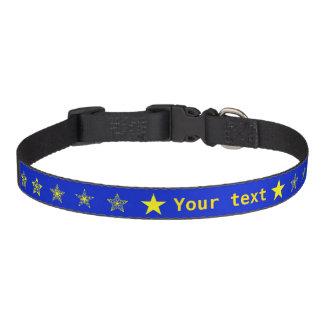 Colliers Pour Animaux Domestiques Bleu avec des étoiles de jaune personnalisées