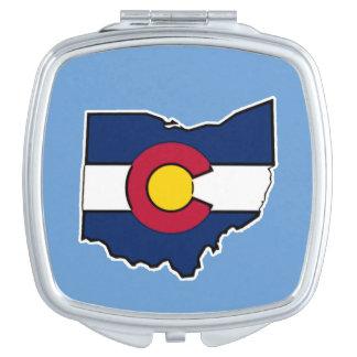 Colorado-Flagge Ohio-Konturvertragsspiegel Taschenspiegel