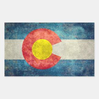 Colorado-Staatsflagge mit Vintagem retro grungy Rechteckiger Aufkleber