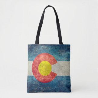 Colorado-Staatsflagge mit Vintagem retro grungy Tasche