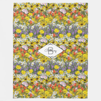 Colorado-Wildblumen mit Monogramm Fleecedecke