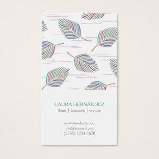 Colorful feathers spring pattern feminine elegant visitenkarte
