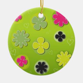 Colorful Flowers Rundes Keramik Ornament