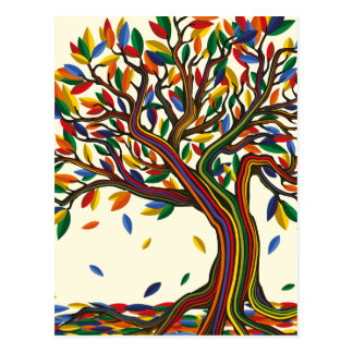 Colorful rainbow tree with bright colors postkarte