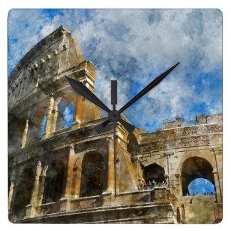 Colosseum in altem Rom Italien Quadratische Wanduhr