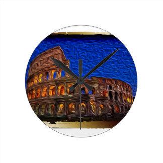 Colosseum in der Nacht Runde Wanduhr