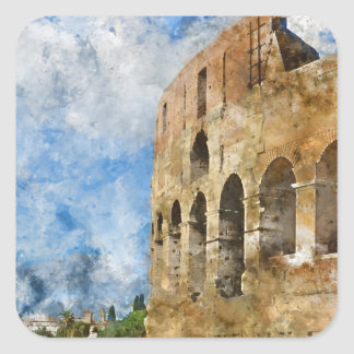 Colosseum in Rom, Italien Quadratischer Aufkleber