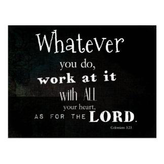 Colossians 3:23 Bibel-Vers, Schriftskunst Postkarte