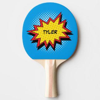 Comic-Buch-Art-bunter Name Tischtennis Schläger