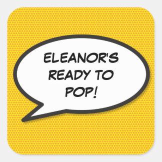 Comic-Buch bereit zum POP! Babyparty Quadratischer Aufkleber