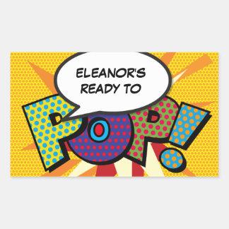 Comic-Buch bereit zum POP! Babyparty Rechteckiger Aufkleber