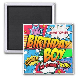 Comic-Buch-Geburtstags-Party-Gewohnheit Quadratischer Magnet