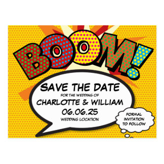 Comic-Buch-Pop-Kunst BOOM Save the Date Postkarte