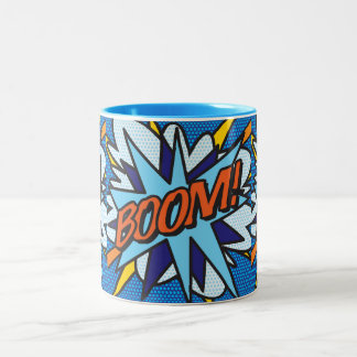 Comic-Buch-Pop-Kunst BOOM! Zweifarbige Tasse