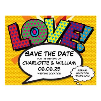 Comic-Buch-Pop-Kunst-Hochzeits-Liebe Save the Date Postkarte