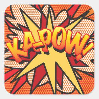 Comic-Buch-Pop-Kunst KA-POW! Quadratischer Aufkleber