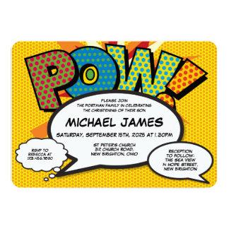 Comic-Buch-Pop-Kunst-Taufe-Taufeinladung Karte