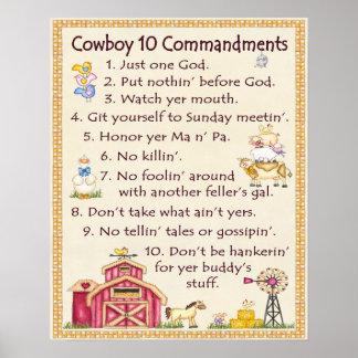 Commandements du cowboy 10 - amusement de ferme (l poster