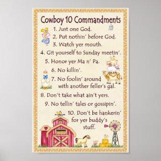 Commandements du cowboy 10 - amusement de ferme poster
