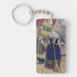 Comptine de dame âgée, de chat et de balai porte-clé  rectangulaire en acrylique une face